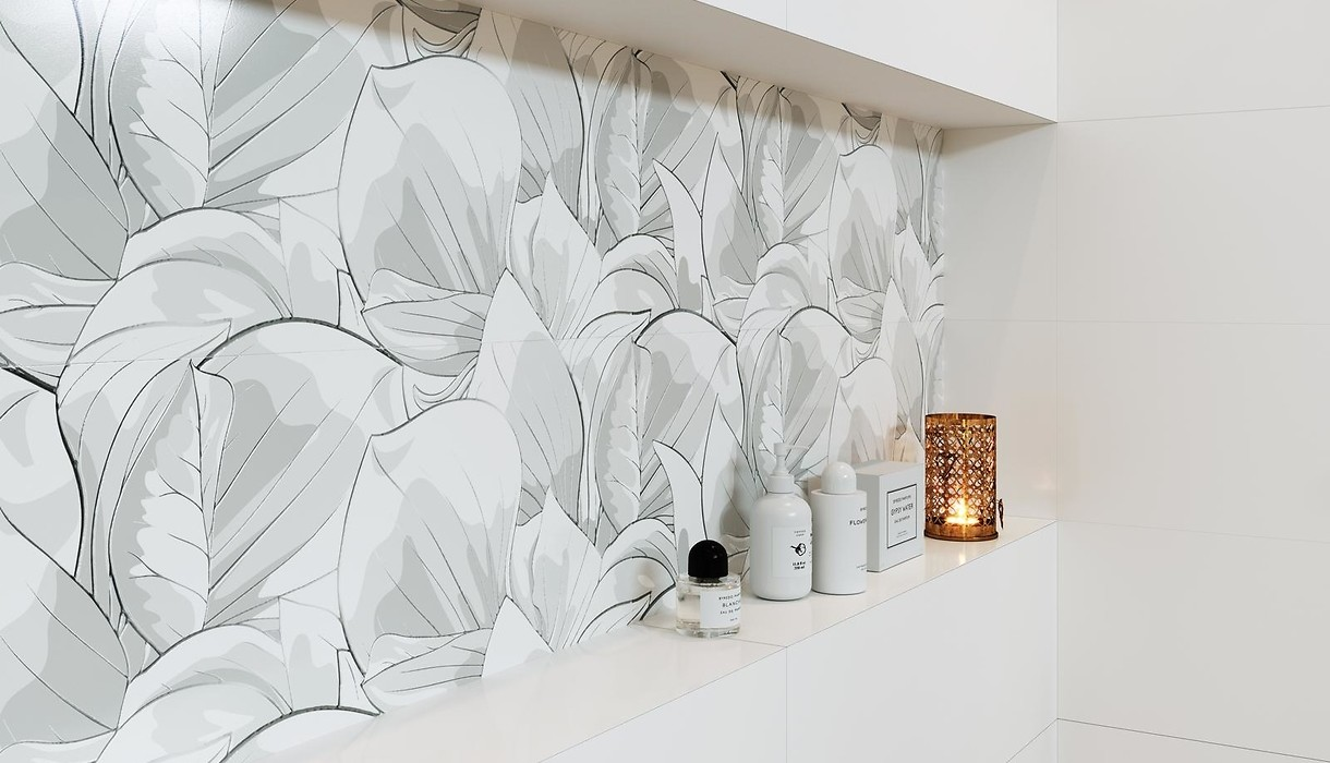 Tiles FLOWER CEMENTO white / Collections / Opoczno Ceramic Tiles on floral ceramic tile murals, black and white wall designs, glass wall tile designs, ceramics porcelain tile designs, dolphins pool tile designs, porcelain floor tile designs, 3d wall designs, kitchen ceramic wall tile designs,